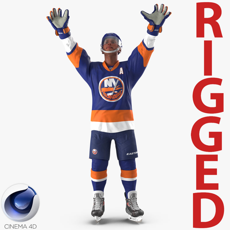 3d model of hockey player islanders rigged