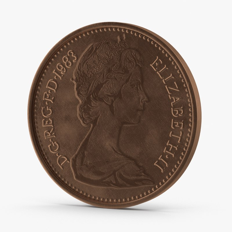 pence coin 3d max