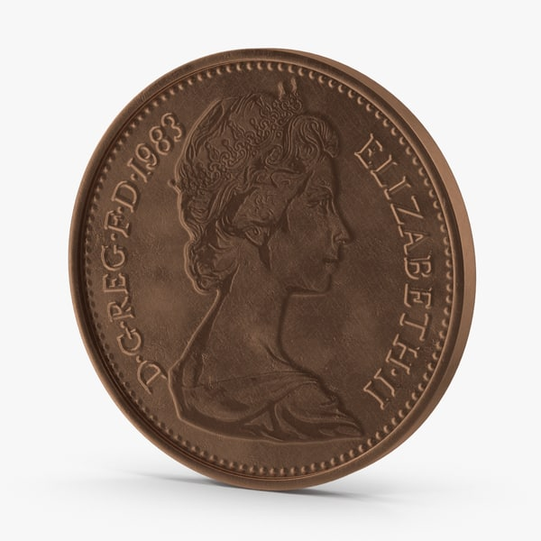 3d model 1 pence coin aged