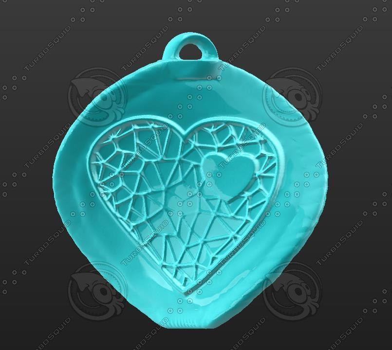 3d-printable heart net obj