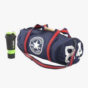 3d realistic sports bag converse model