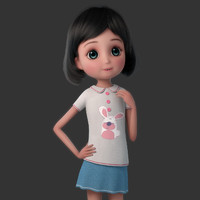 obj cartoon claire rigged girl