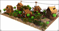 3d model cartoon toon village