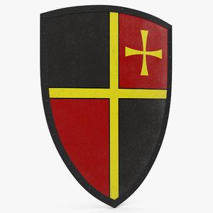 3d european medieval heater shield model