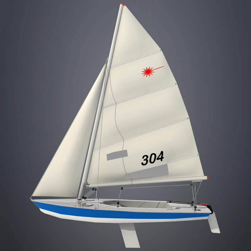 laser class sailboat 3d model