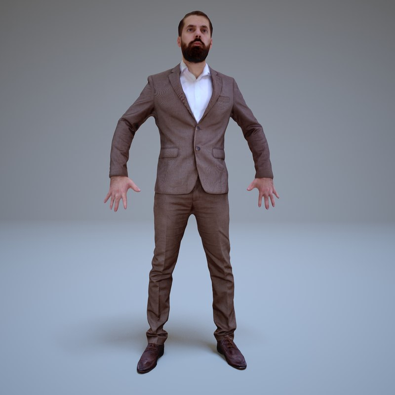 3d businessman a-pose human model