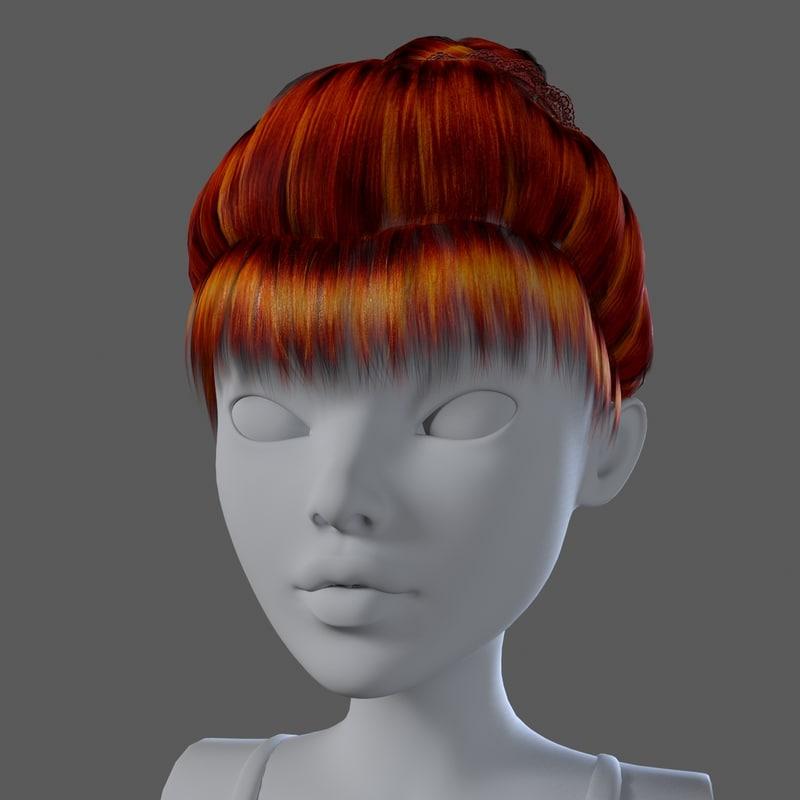 3d Realistical Elegant Hairstyle Hair Model