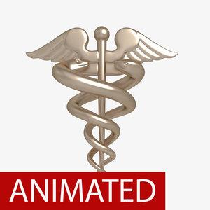 3d medical symbol caduceus animation model