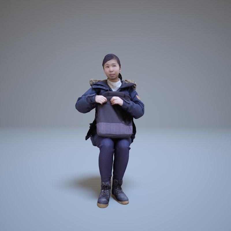 3d japanese girl woman human model