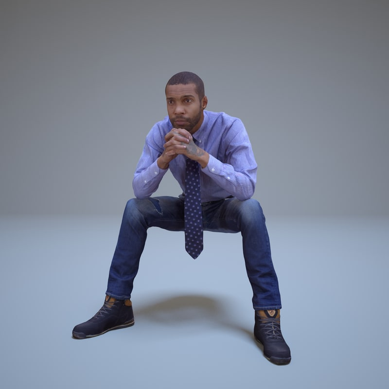 3d black man sitting people model
