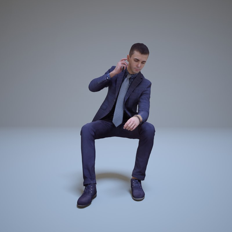 3d businessman sitting phone people human