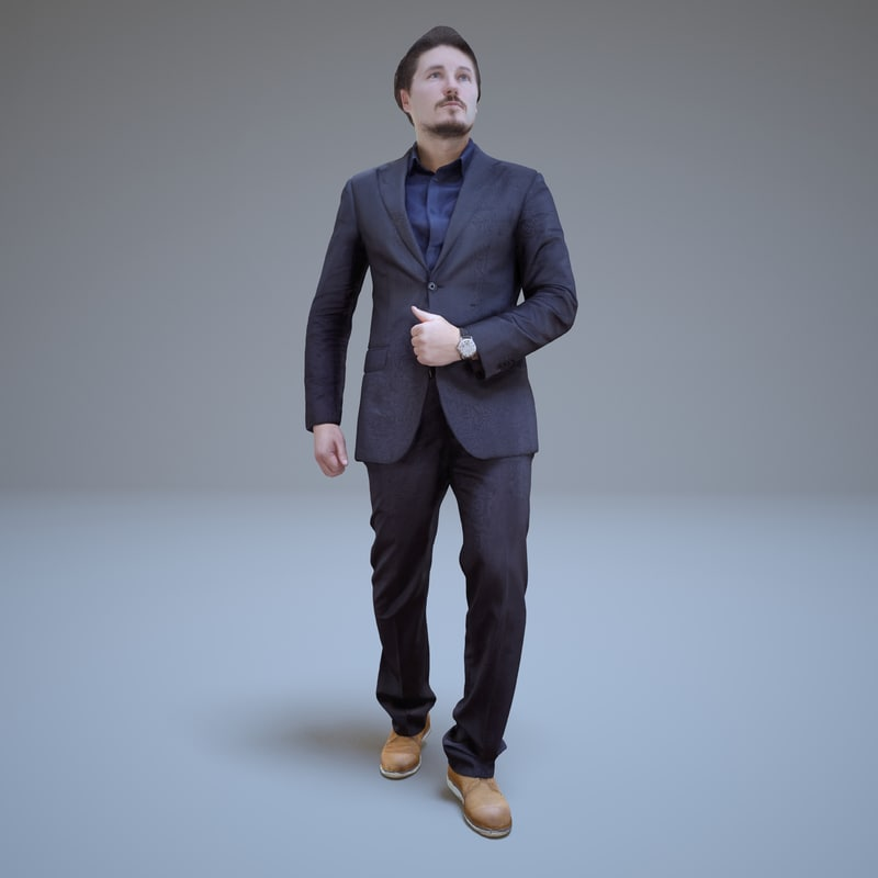3d model walking businessman people human