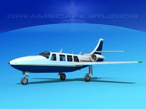 jet fj-100 fanjet piper aerostar 3d obj