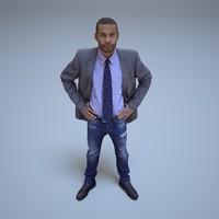 3d model businessman black people human