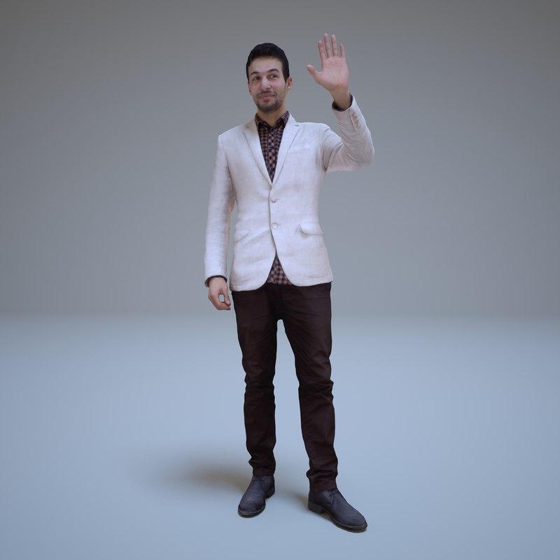 3d model businessman standing human