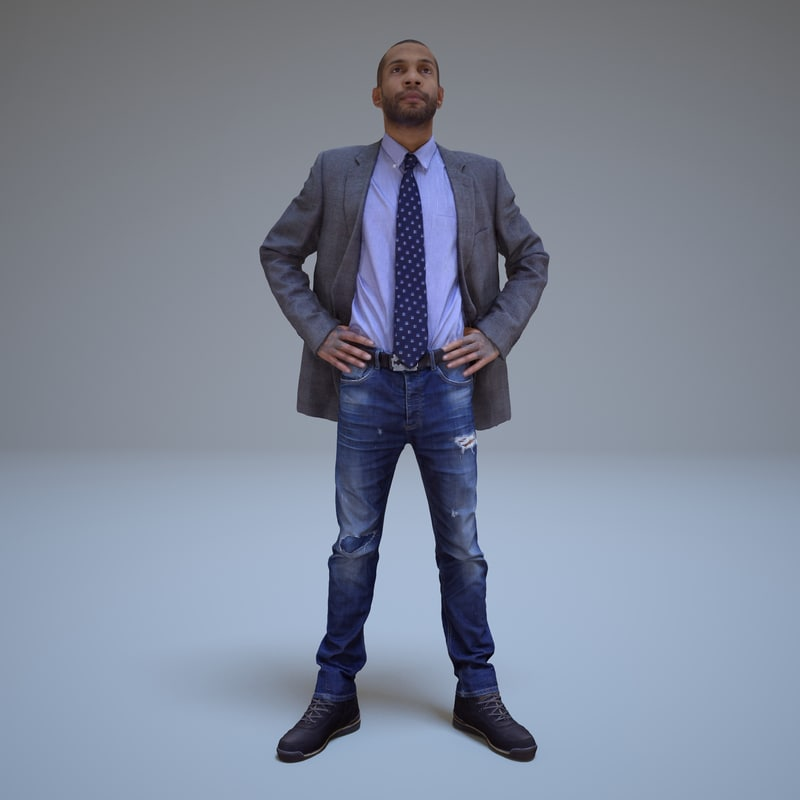 3d model businessman black people human