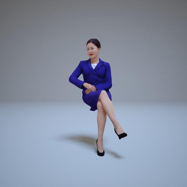 3d asian woman sitting people model
