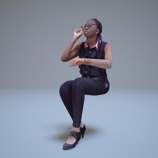 3d woman sitting human