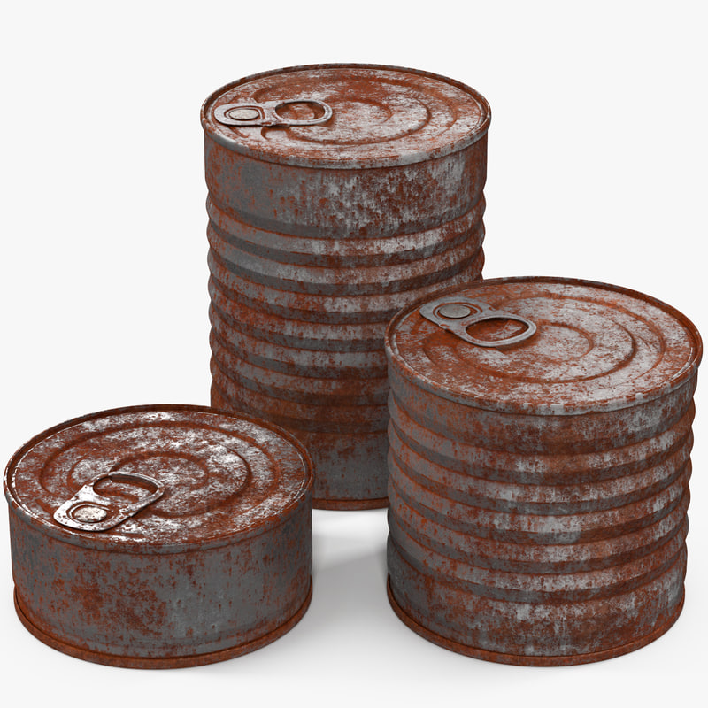 3d model tin cans rusty