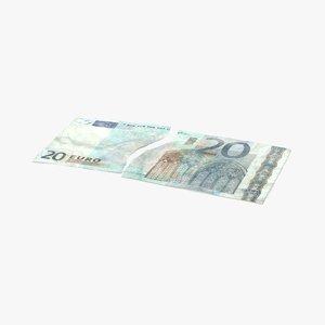 3d 20 euro bill torn model