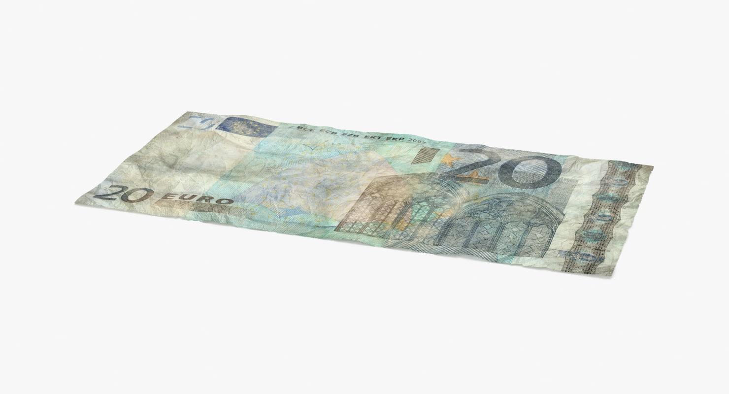 3d 20 euro bill distressed model