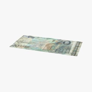 3d 20 euro bill distressed model