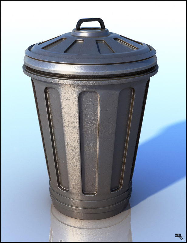 3d model bin trash ash