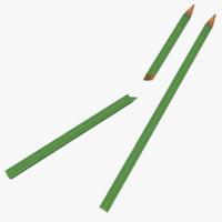 3d broken pencil model