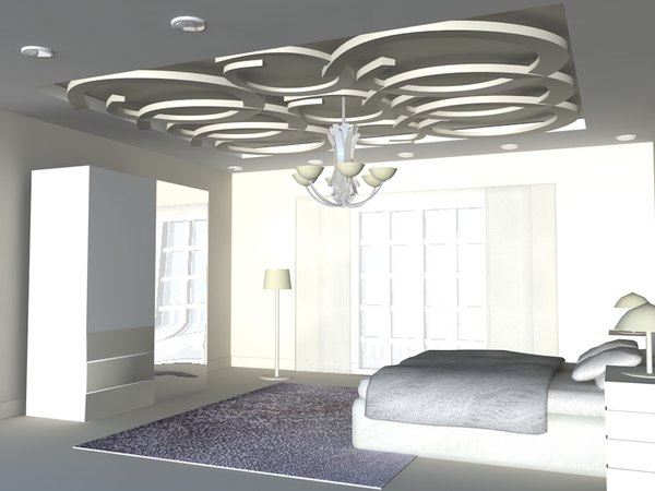 3d bedroom room bed model