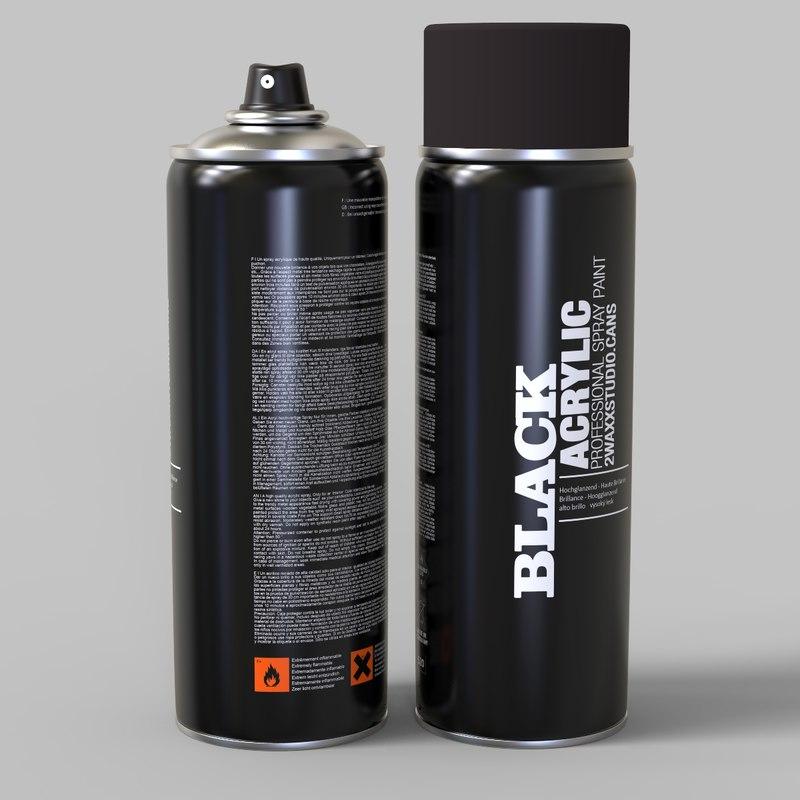 spray bomb paint cans 3d c4d