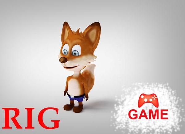 fox rigged - 3d model