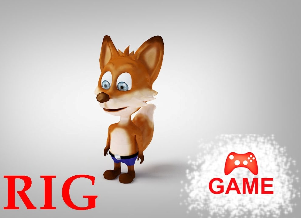 fox rigged - 3d model