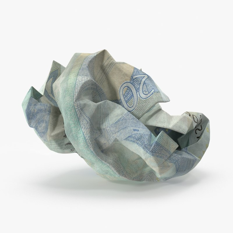 20 euro bill crumpled 3d model