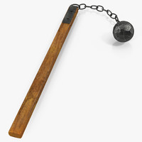 3d medieval flail ball chain