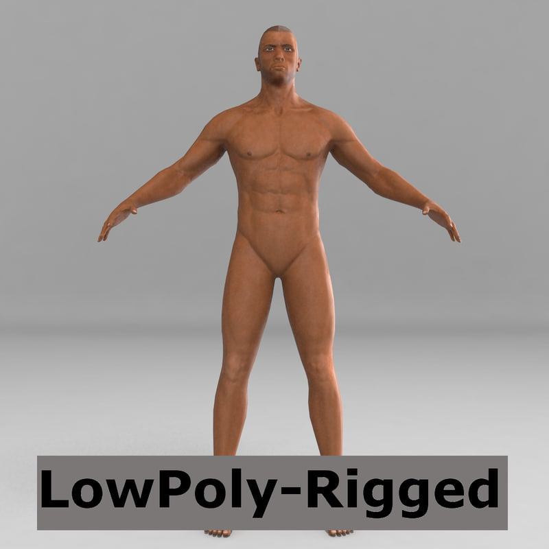 3d model black man rigged biped