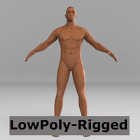 3d model black man rigged biped