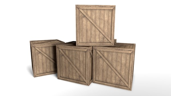wooden crate 3d obj