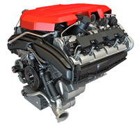 V8 Car Engine 3D Model