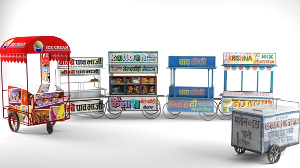 indian shopping carts 3d model