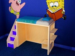 3d model bed kid
