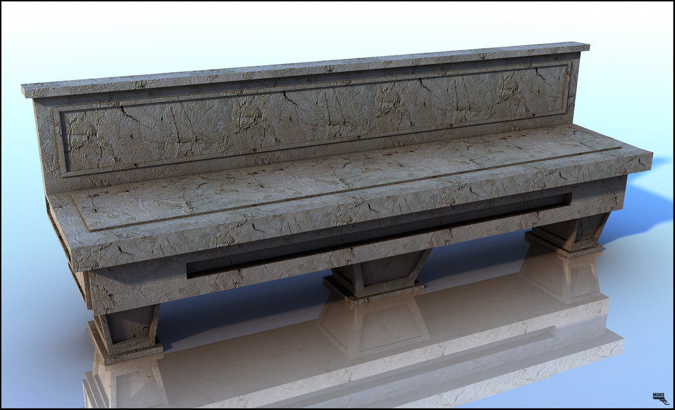 bench europe stone 3d max
