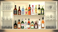 3d liquor bottles bar unit model