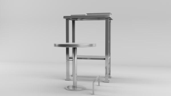 3d lab table stool model