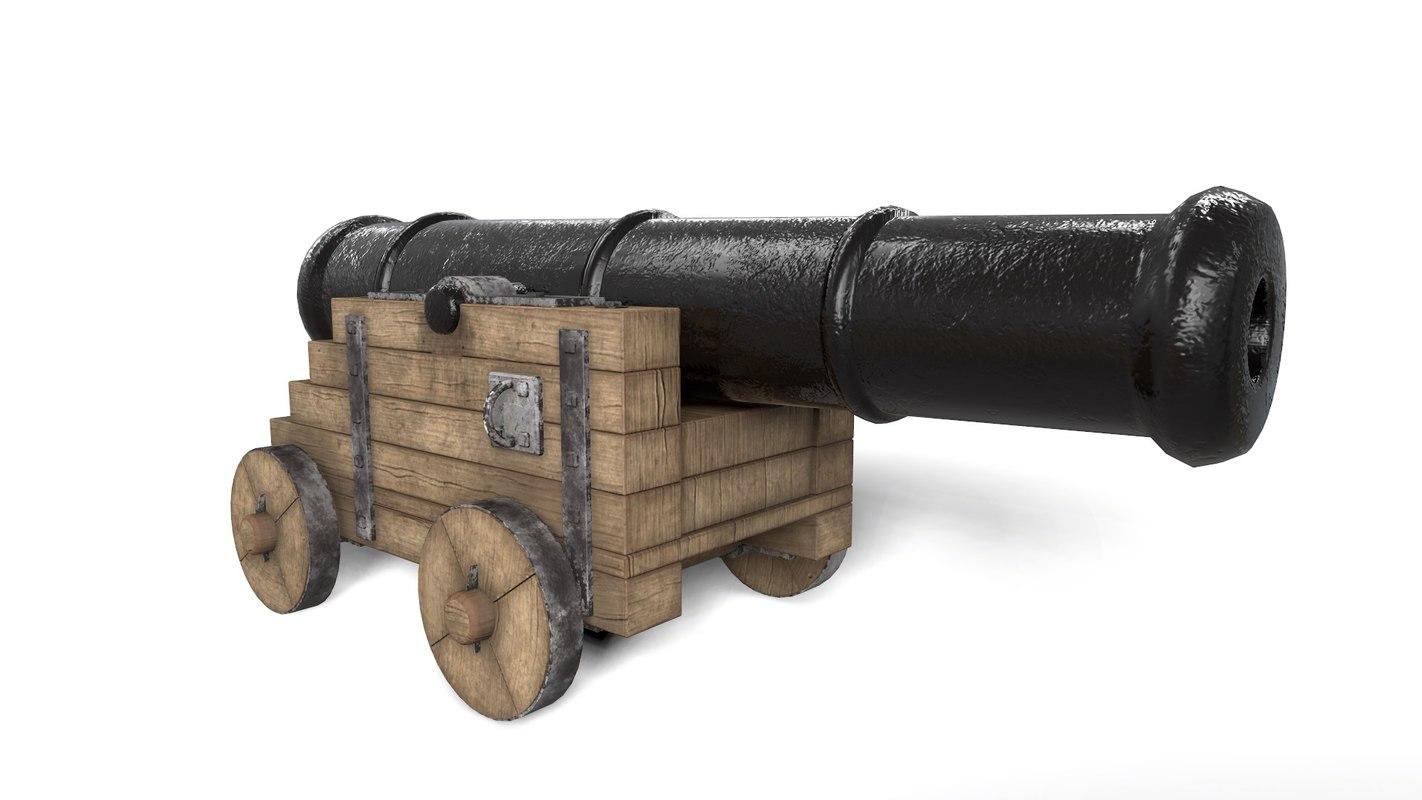 antique cannon - pirate 3d model