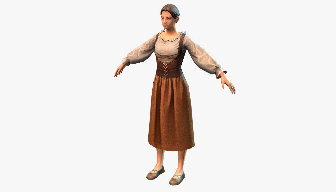 medieval peasant female 3d max