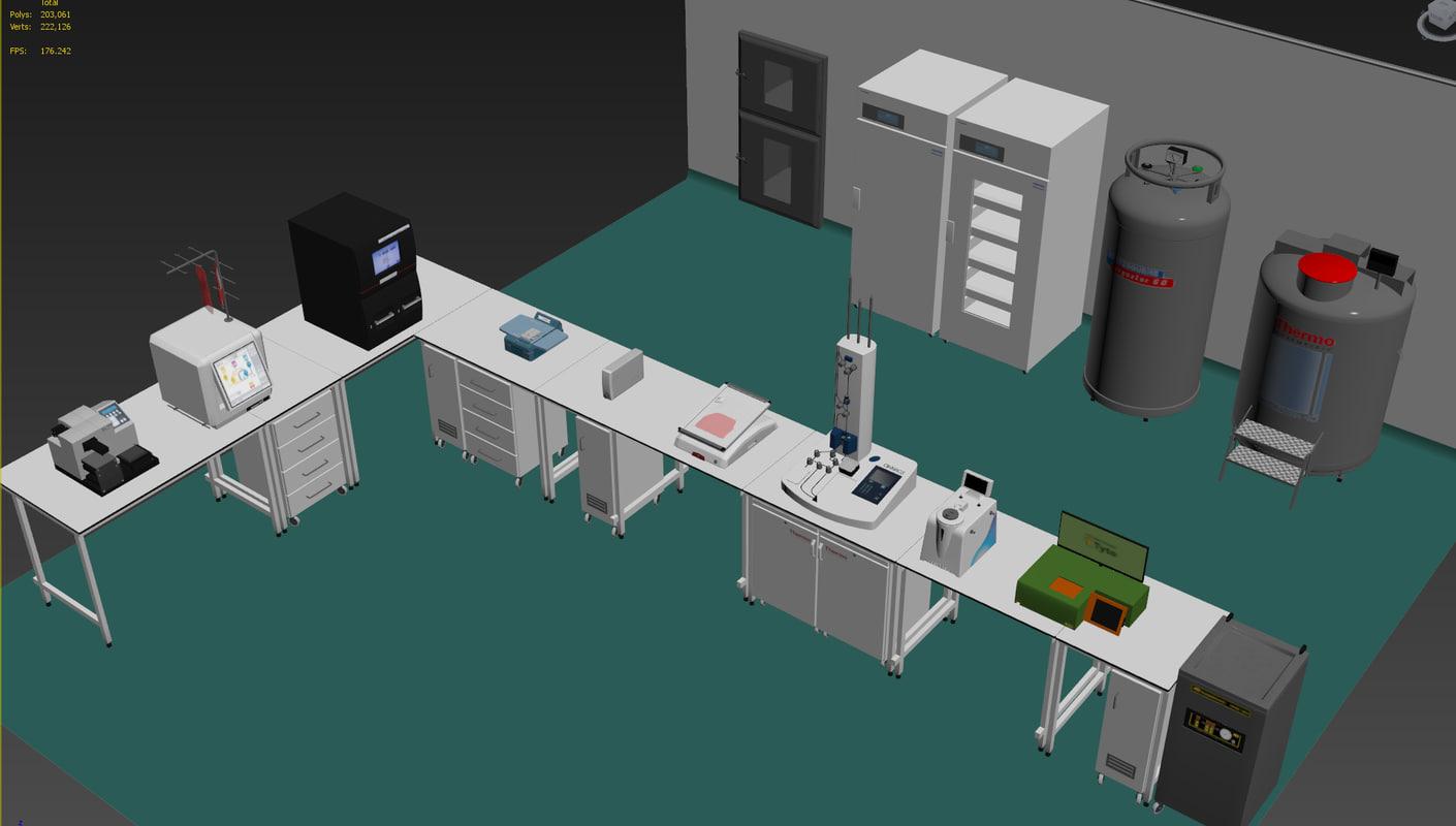 3d model of laboratory equipment pharmaceutical
