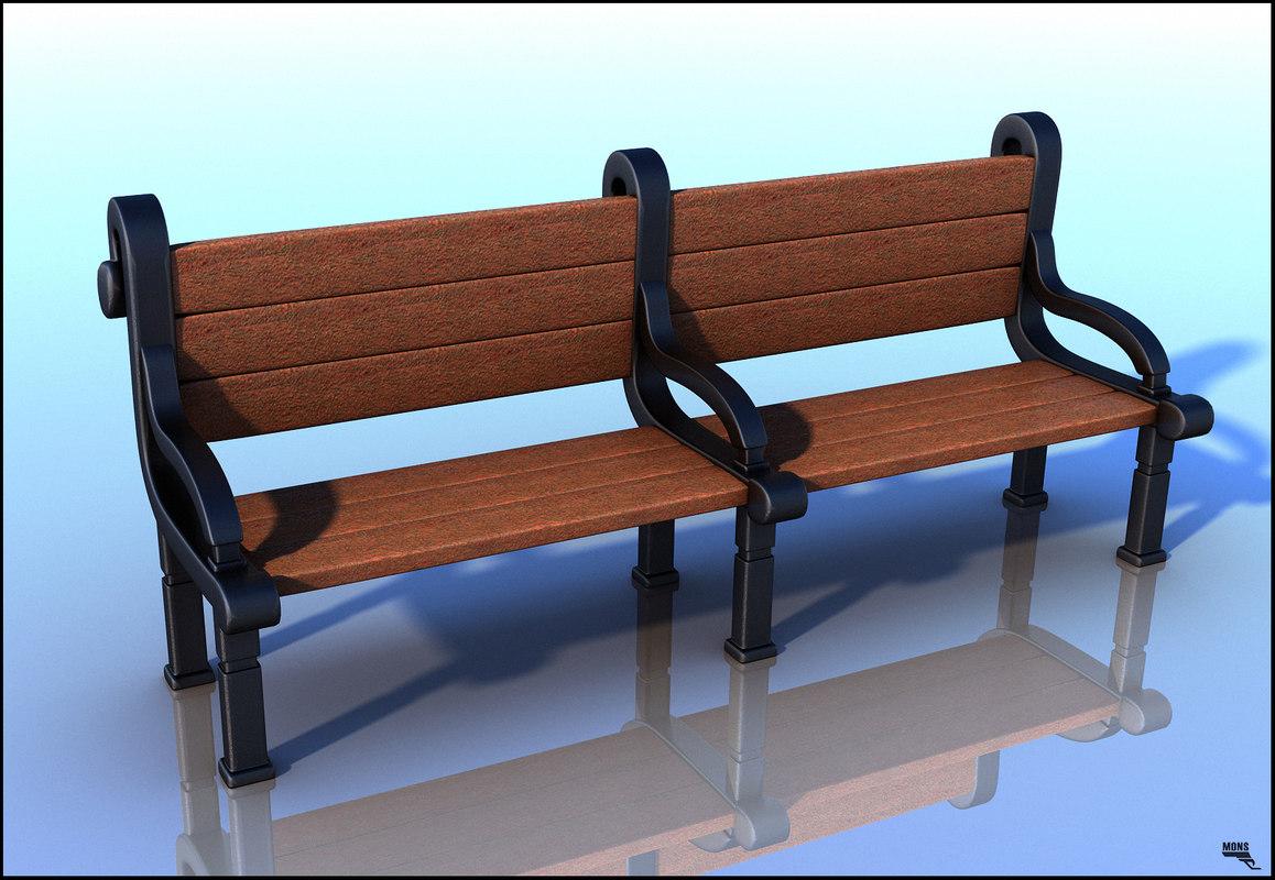 3d model bench cartoon art