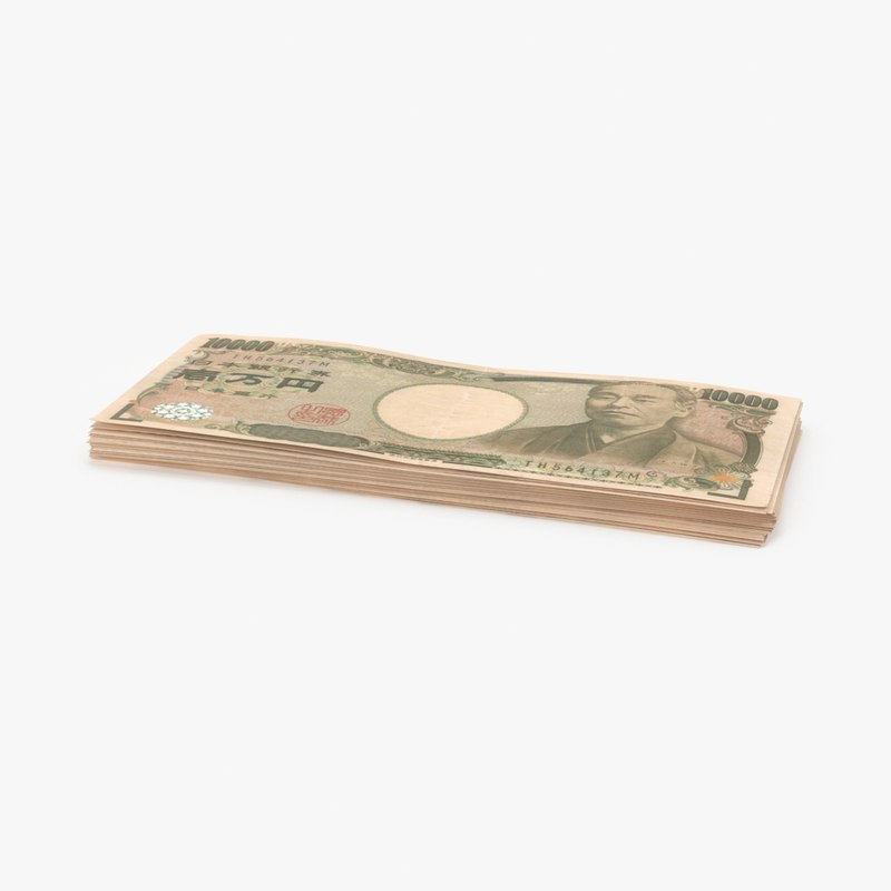 10000 yen note stack 3d max