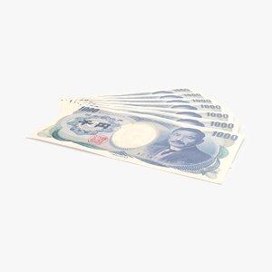 1000 yen note fanned 3d max