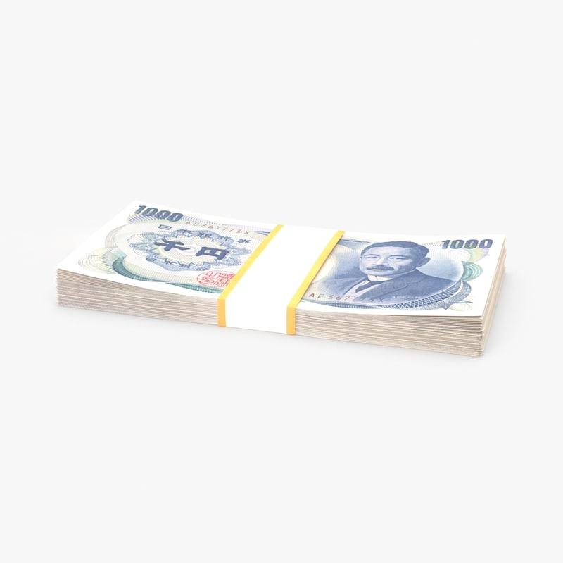 1000 yen note pack 3d model